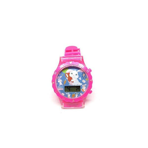 Relógio Infantil Prorider Rosa com Estampa de Coelhinhos - RLIR2020