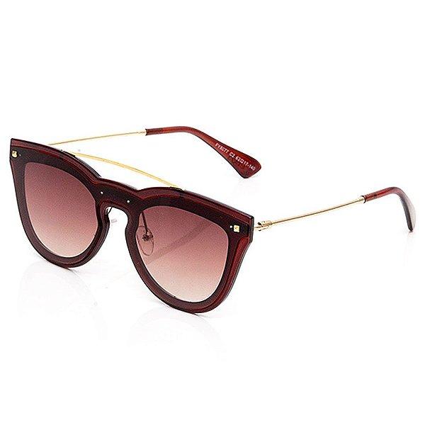 Óculos de Sol Clos Arredondado Vermelho e Dourado