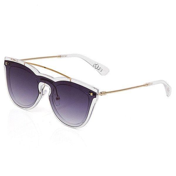Óculos de Sol Clos Gatinho Arredondado Dourado e Translúcido