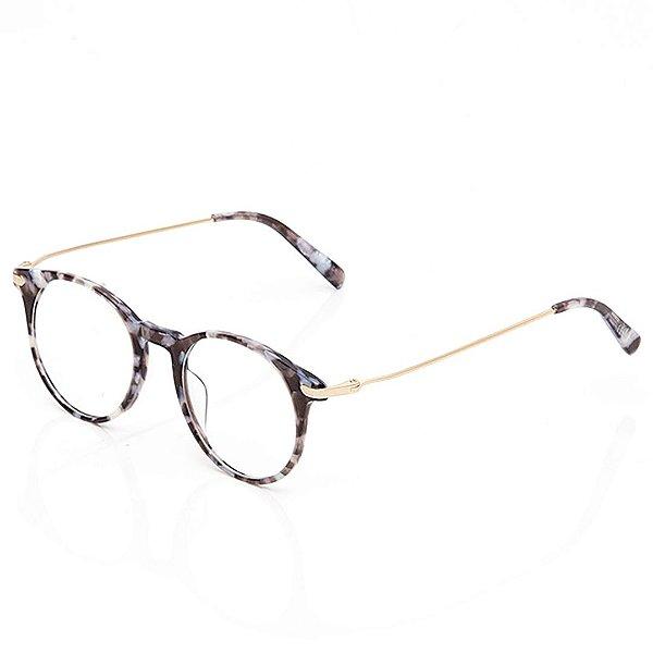 Óculos de Grau Clos Arredondado Animal Print Acinzentado