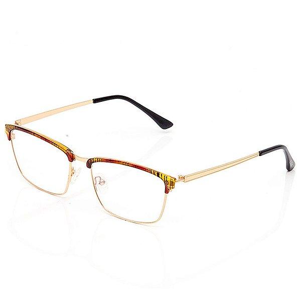 Óculos de Grau Clos Quadrado Amarelo com Vermelho