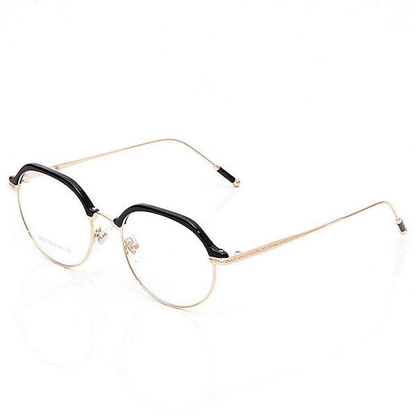 Óculos de Grau Clos Redondo Preto e Dourado