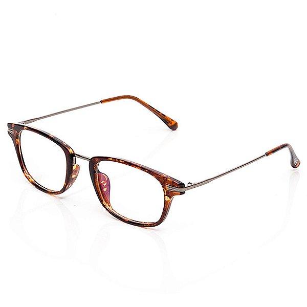 Óculos de Grau Clos Quadrado Marrom Mesclado