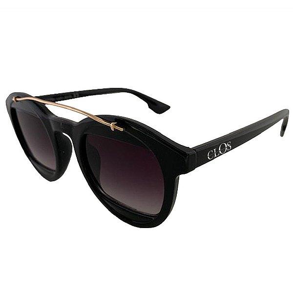 Óculos de Sol Clos em Grilamid® TR-90 Redondo Preto Brilho com Dourado