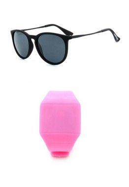 Kit Relógio Rosa Prorider com Óculos de Sol Preto - KITRLMOCPT