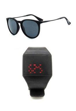 Kit Relógio Preto Prorider com Óculos de Sol Preto - KITPLMOCPT