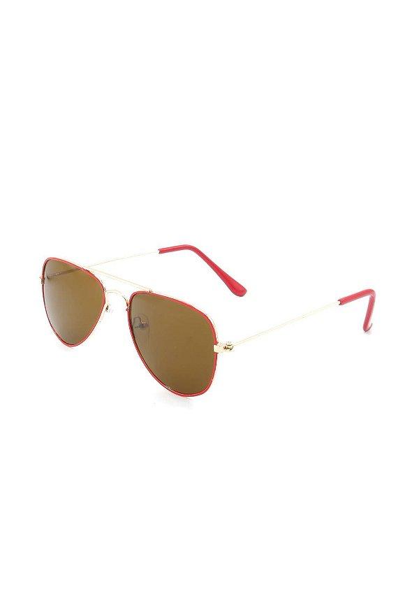 Óculos de Sol Prorider Infantil Dourado e Vermelho com lente marrom- 1845R