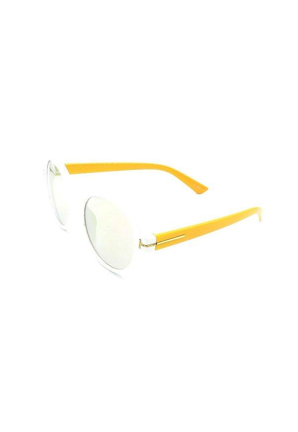 Óculos Solar Paul Ryan Branco e Amarelo - D9044