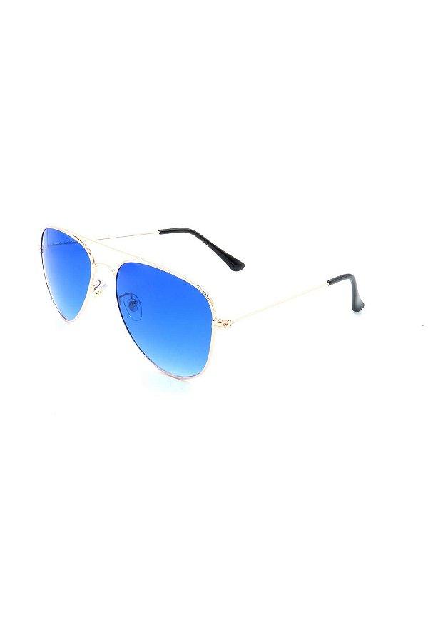 Óculos Solar Prorider Aviador Dourado com Lente degrade azul - ANTIGU2
