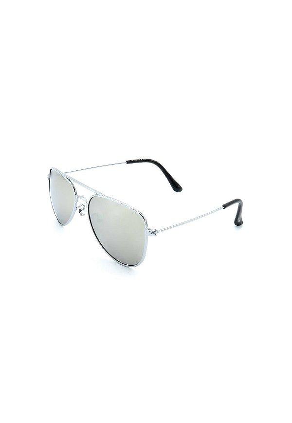 Óculos Solar Prorider Aviador Prata com Lente Espelhada Prata - ANTIGU1