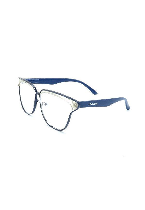 Óculos receituário retro code blue Azul com detalhe translucido  - AZTR2020CD