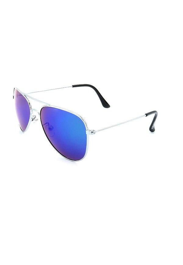 Óculos de Sol Prorider Aviador prata Com Lente Espelhada azul - 3026-5