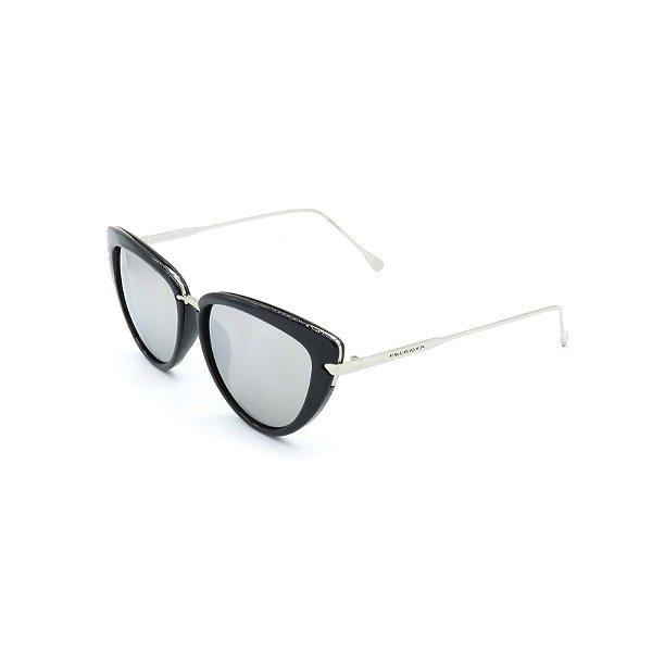 Óculos Solar Prorider Preto e Prata Com Lentes Fumê - H01441