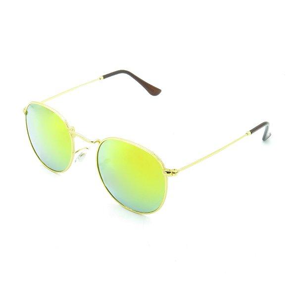 Óculos de Sol Prorider Dourado Com Lente Espelhada Amarela - D3447