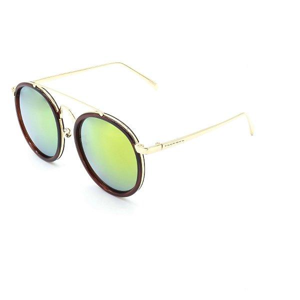 Óculos Solar Prorider Retrô Dourado e Multicores Com Lentes Espelhadas Amarelas  - RM0231C3