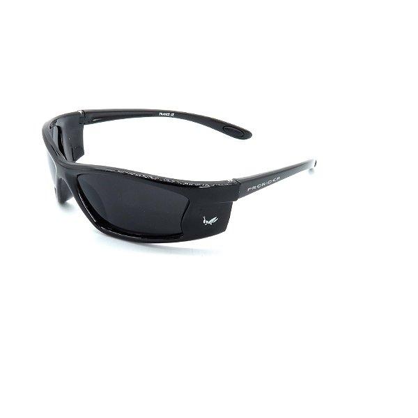 Óculos de Sol Prorider Retrô Preto Brilhante Detalhado com Lente Fumê - NT21128