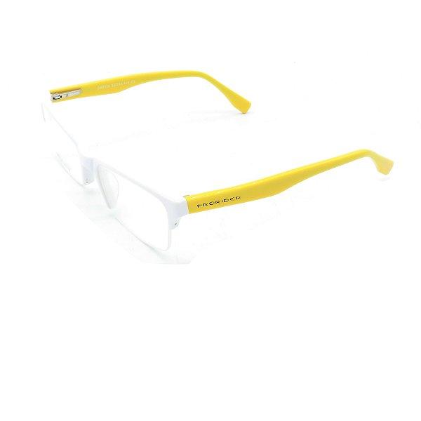 Óculos Receituário Prorider Retrô Branco e Amarelo Com Lente de Apresentação - OA8108