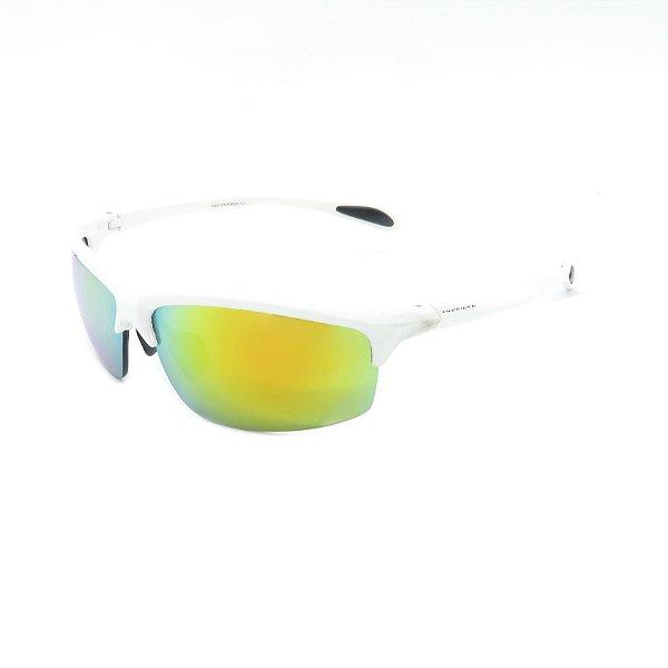 Óculos de Sol Prorider Retrô Branco com Lente Espelhada Amarela - SRP832-1J