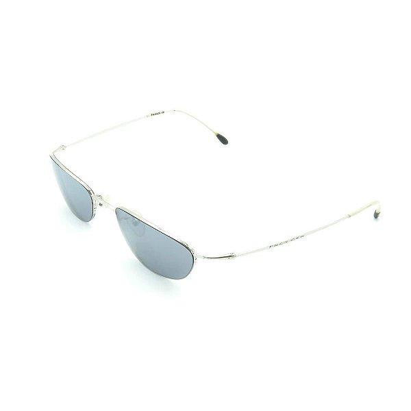 Óculos de Sol Prorider Retrô Prata Brilhante e Branco Fosco com Lente Fumê - CUCAO1025