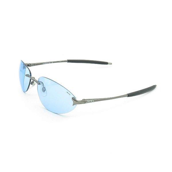 Óculos de Sol Prorider OTTO Retrô Prata com Lente Fumê Azul - FUS8261