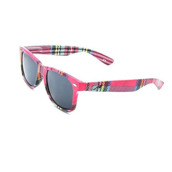 Óculos de Sol Prorider Retrô Rosa Detalhado Xadrez com Lente Fumê - PS777C2