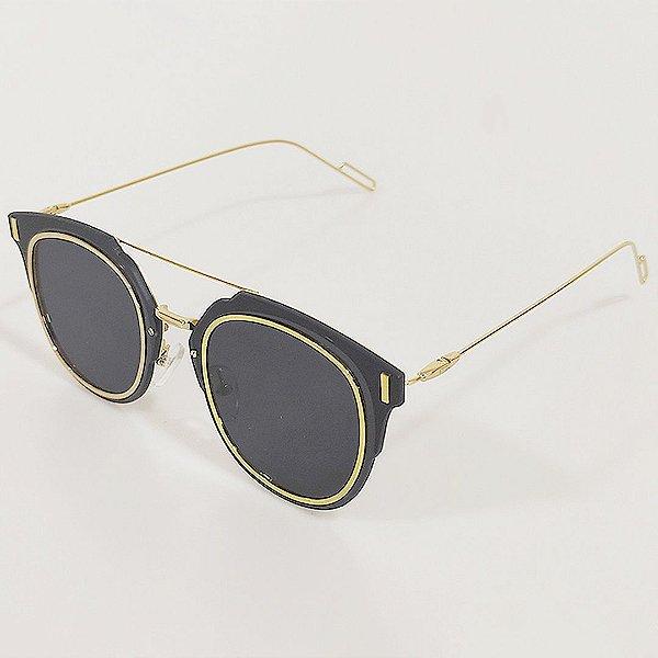 Óculos de Sol OTTO Retrô Preto e Dourado