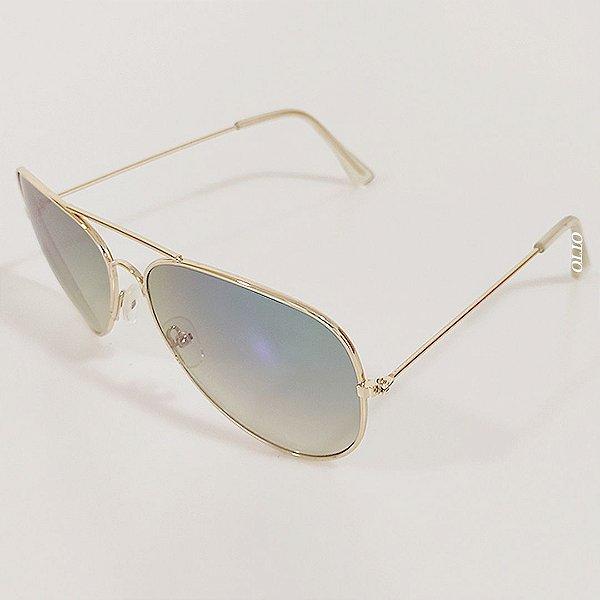 Óculos de Sol Masculino OTTO Aviador Dourado