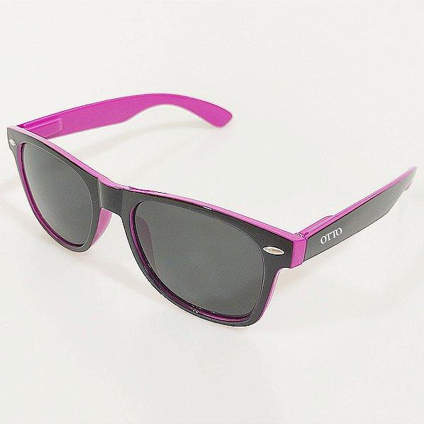 Óculos de Sol Otto Wayfarer Preto e Rosa