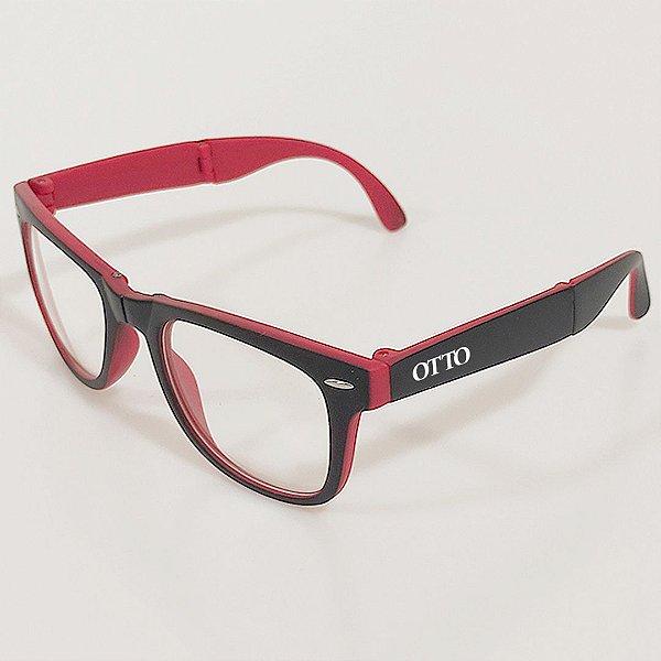 Óculos de Sol OTTO Quadrado Dobrável Preto e Vermelho