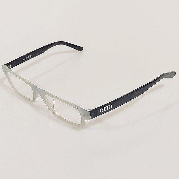 Óculos de Grau Otto Retangular Cinza e Preto