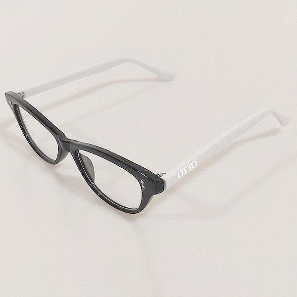 Óculos de Grau Otto Gatinho Preto e Branco