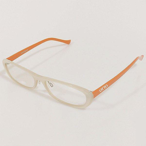 Óculos de Grau Otto Retrô Branco e Laranja