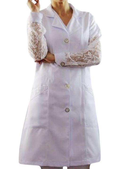 Avental social Feminino branco  manga com detalhe em rendas