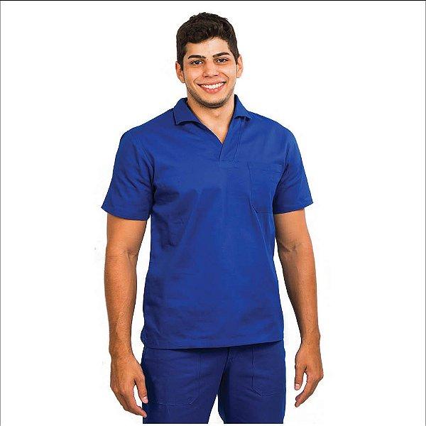 Camisa profissional fechada de brim manga curta