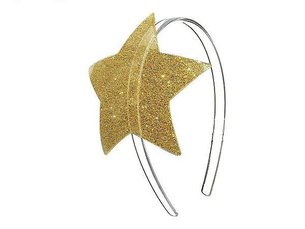 Arco Estrela Grande Dourado Purpurinado