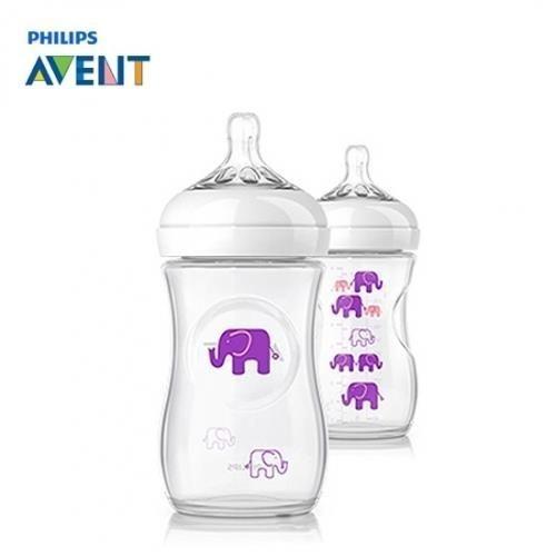 Mamadeira 260ml PETALA BPA Free Avent Transparente com Elefantes Rosa Lilás