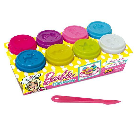 Massinha Barbie 8 potes 50g