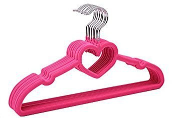 Cabide de Veludo Infantil - Modelo Coração Pink Fluor (Kit com 12 unidades)