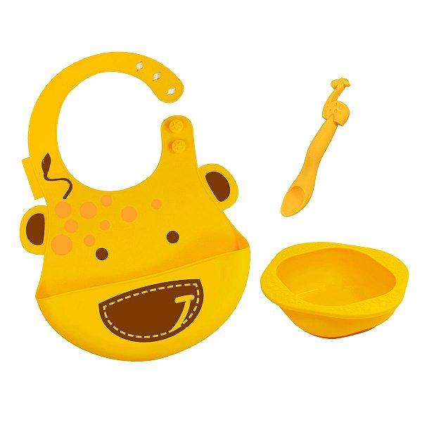 Kit de Alimentação em Silicone Girafa (Amarelo)