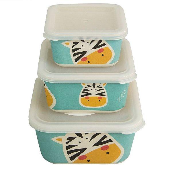 Kit ecológico com 3 potes Zebra