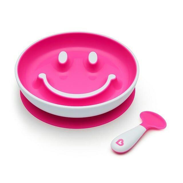 Prato Smile com Ventosa e Colher Rosa