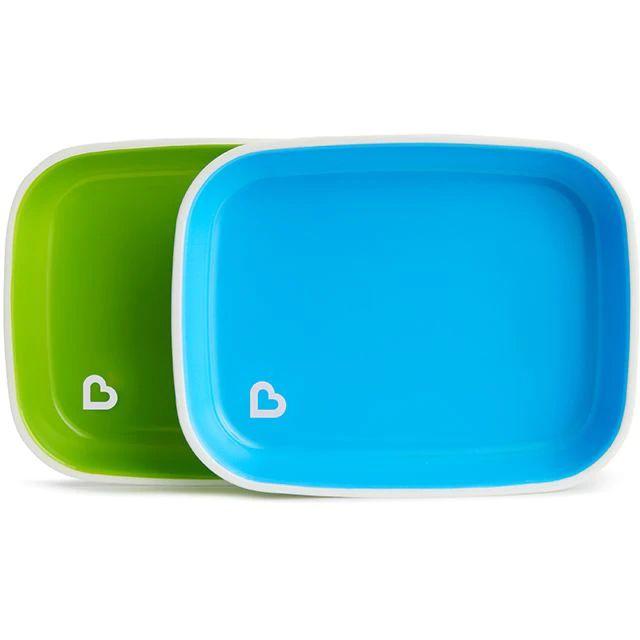 Conjunto com 2 Pratos Azul e Verde Munchkin (Splash Toddler Plate)