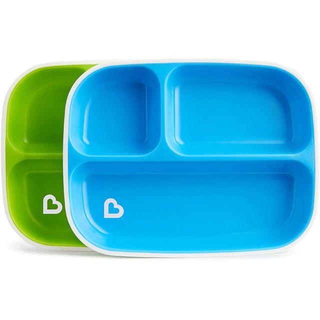 Conjunto com 2 pratos com divisórias Azul e Verde Munchkin (Splash Toddler Divided Plate)