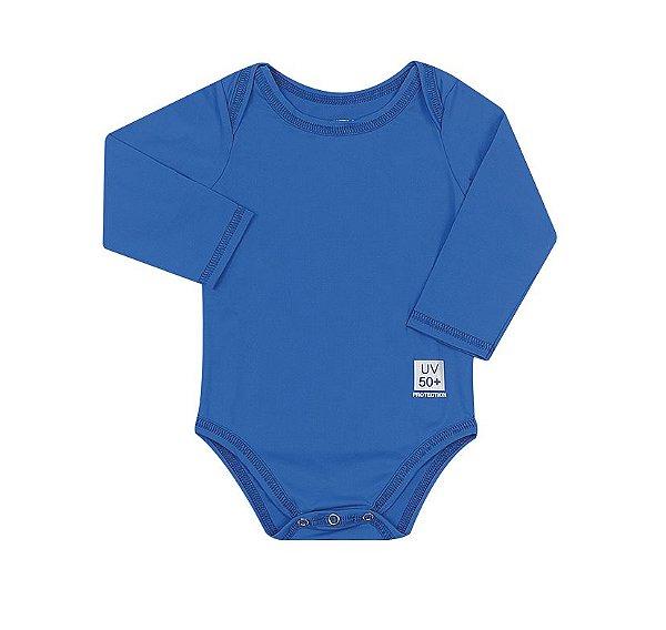 Body Infantil com proteção UV Azul Aquarela