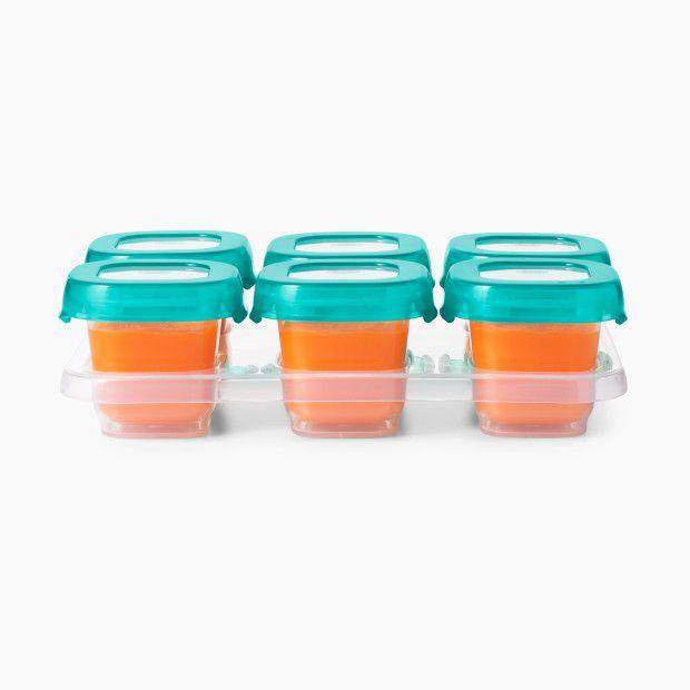 Bandeja com 6 potes de armazenamento com tampa Oxo Tot Teal (Baby Blocks)