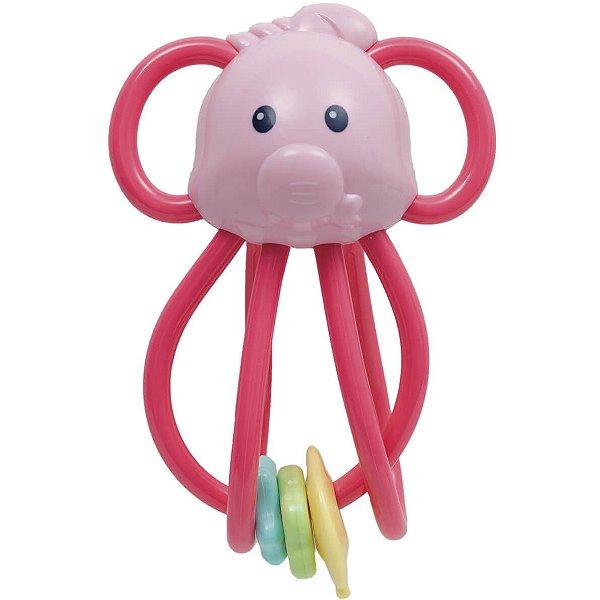 Elefantinho Chocalho Divertido Rosa