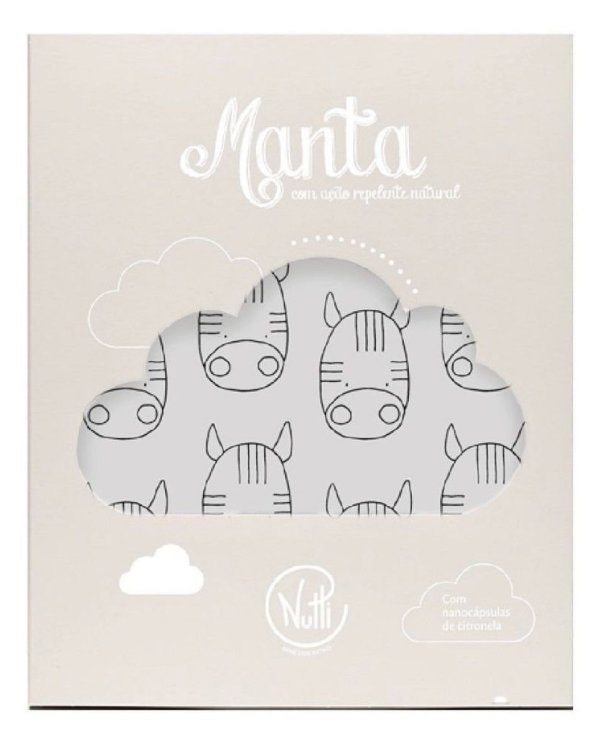 Manta Repelente Zebra Cinza Nutti (87 x 97cm)