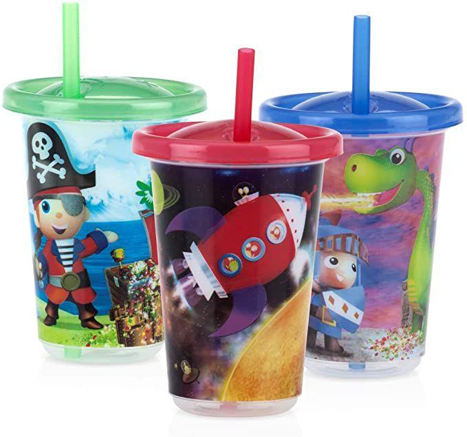 Kit com 3 copos decorados com canudo Nuby Azul