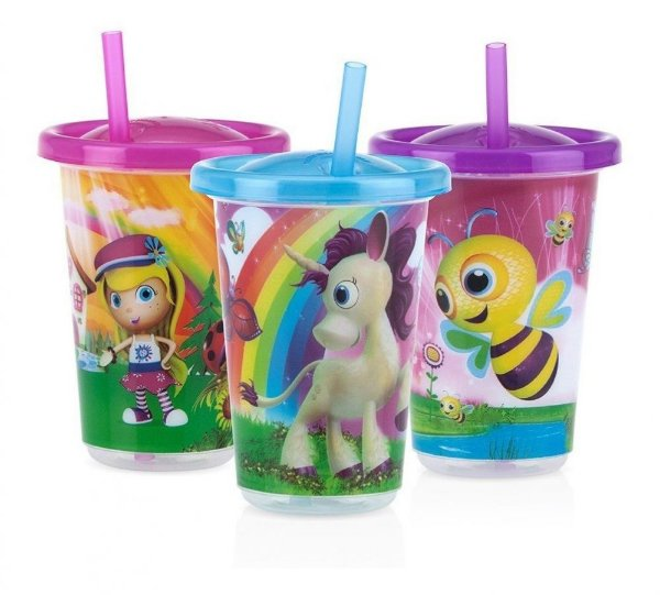 Kit com 3 copos decorados com canudo Nuby Rosa