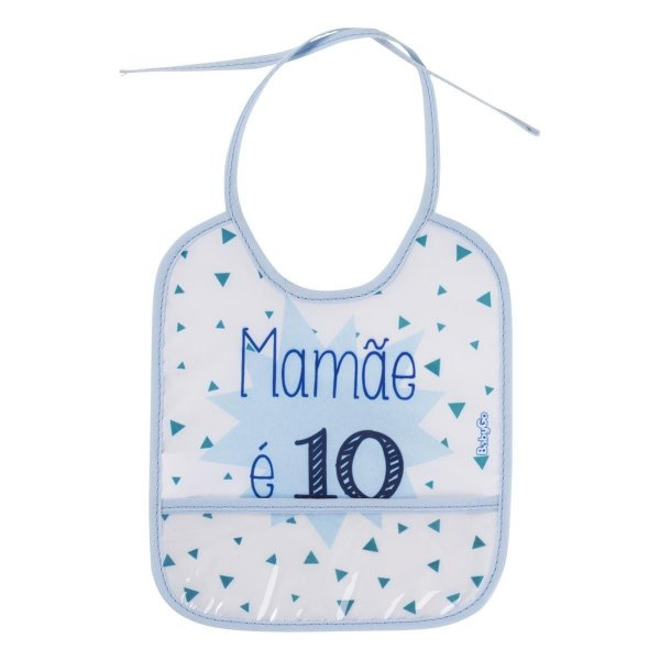 Babador Mamãe é 10 Azul